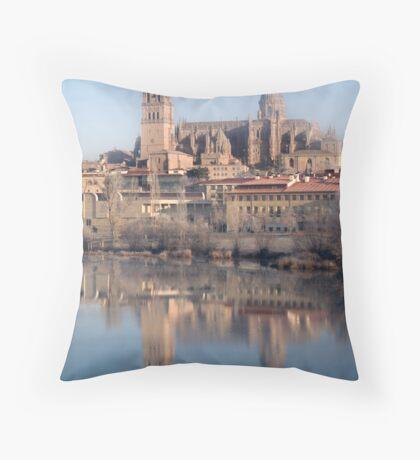 Cathedral's reflection, Salamanca, Spain Throw Pillow