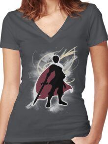 Super Smash Bros. White Marth Silhouette Women's Fitted V-Neck T-Shirt