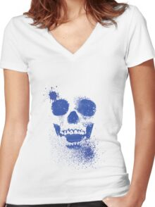 Mysterious Faces Women's Fitted V-Neck T-Shirt