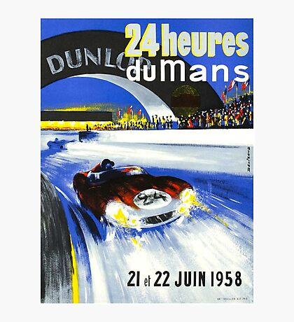 24 Hours of LeMans - 1958 Poster Art Photographic Print