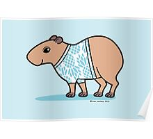 Capybara in Blue Pineapple T Shirt Poster