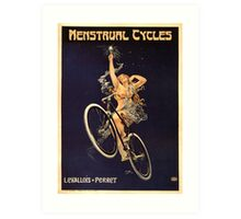 Vintage Bicycle Poster Parody - Menstrual Cycles Art Print