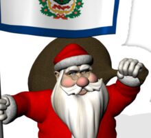 Santa Claus With Flag Of West Virginia Sticker