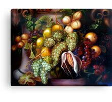 Still life with white and black grapes Canvas Print