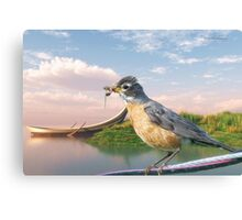 American Robin and a Mouthful Canvas Print