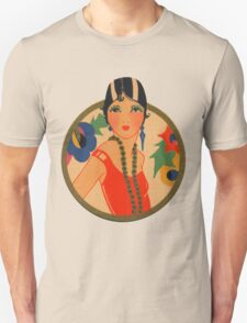 Roaring 20's Flapper in a Red Dress Unisex T-Shirt