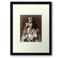 Native American Portrait: Jicarilla Girl in Feast Dress Framed Print