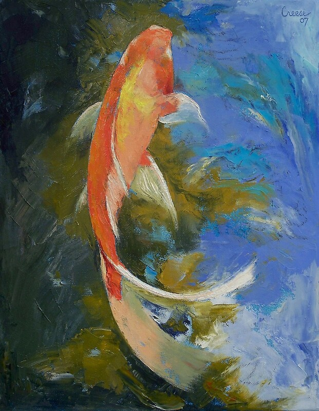 Butterfly koi painting photographic prints by michael for Koi artwork on canvas