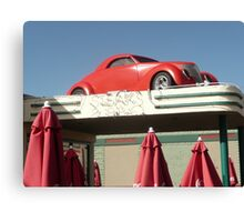 Red Car Over Steakhouse Sign, Holbrook, Arizona. Canvas Print
