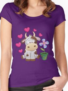 Little cow in love Women's Fitted Scoop T-Shirt