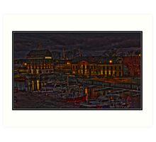 Klaipeda's port in the night Art Print