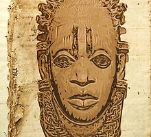 African traditional mask on old paper by DikHendriks