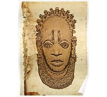 African traditional mask on old paper Poster