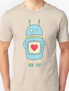 Blue Cute Clumsy Robot With Heart T-Shirt