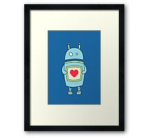 Blue Cute Clumsy Robot With Heart Framed Print