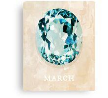 Watercolor Birthstone Gems, March Canvas Print