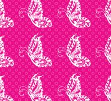 Fluttering Butterflies - Hot Pink And White 2 Sticker
