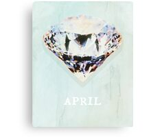 Watercolor Birthstone Gems, April Canvas Print