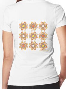 Candy Corn Foot Flowers Women's Fitted V-Neck T-Shirt