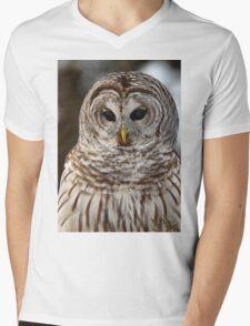 Barred Owl closeup Mens V-Neck T-Shirt