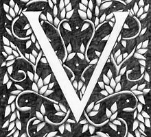 "Art Nouveau ""V"" (William Morris Inspired) by Donna Huntriss"
