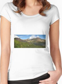 Snowdon and Llyn Llydaw panorama Women's Fitted Scoop T-Shirt