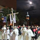 Moon over Setmana Santa procession by Christine Oakley