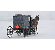 Horse and Buggy in the Snow Photographic Print