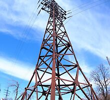 High-voltage tower with wires by vladromensky