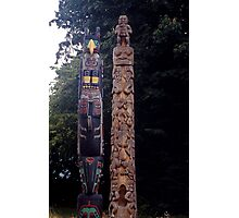 Carved Indian Totem Poles, Vancouver, Canada. Photographic Print
