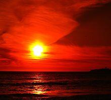 Half Moon Bay Sunset in Red. California 2008 by Igor Pozdnyakov