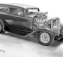 Ford HotRod Tudor drawing by John Harding