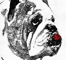 Bulldog Pop Art - How Bout A Kiss 2 - By Sharon Cummings by Sharon Cummings