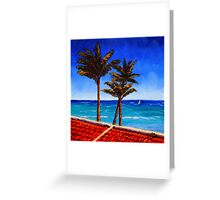 Red Roof & Palm Trees on the Caribbean Greeting Card