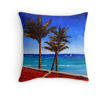 Red Roof & Palm Trees on the Caribbean Throw Pillow