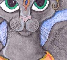 Sheeba, big eyed grey cat angel Sticker