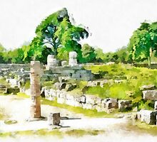 Paestum: archaeological site with tree and column by Giuseppe Cocco