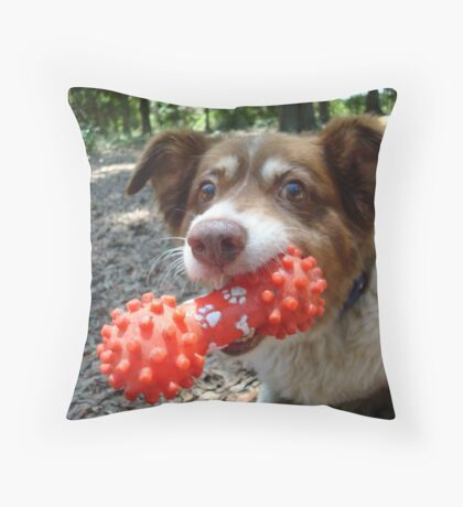 Buddy and his Dumbell Throw Pillow