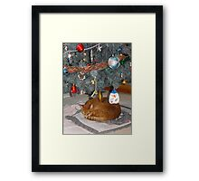 Frank Found The Best Spot For A Long Winters Nap... Framed Print