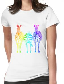 Rainbow Zebras Womens Fitted T-Shirt