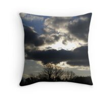Winter trees and Cloud across the Sun Throw Pillow