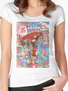 Vintage Comic Flash Women's Fitted Scoop T-Shirt