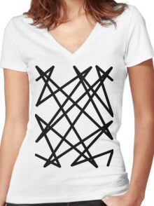Black lines Women's Fitted V-Neck T-Shirt