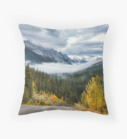 Maligne Lake Road Throw Pillow