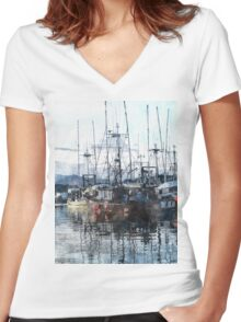 Prince Rupert Marina Watercolour Study Women's Fitted V-Neck T-Shirt