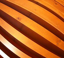 Wooden boards wall with wide angle fisheye view by vladromensky