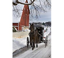 Horse and Buggy in December Photographic Print