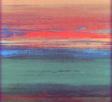Abstract Sunset in Pink, Purple and Teal by LizMo