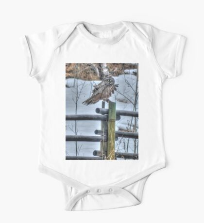Great Grey Owl on a Ranch Fence One Piece - Short Sleeve