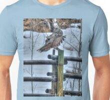 Great Grey Owl on a Ranch Unisex T-Shirt